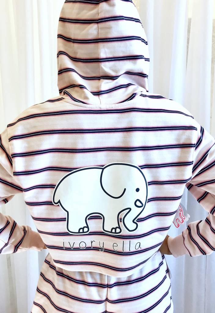 Crystal Pink Striped LS Elephant Hoodie