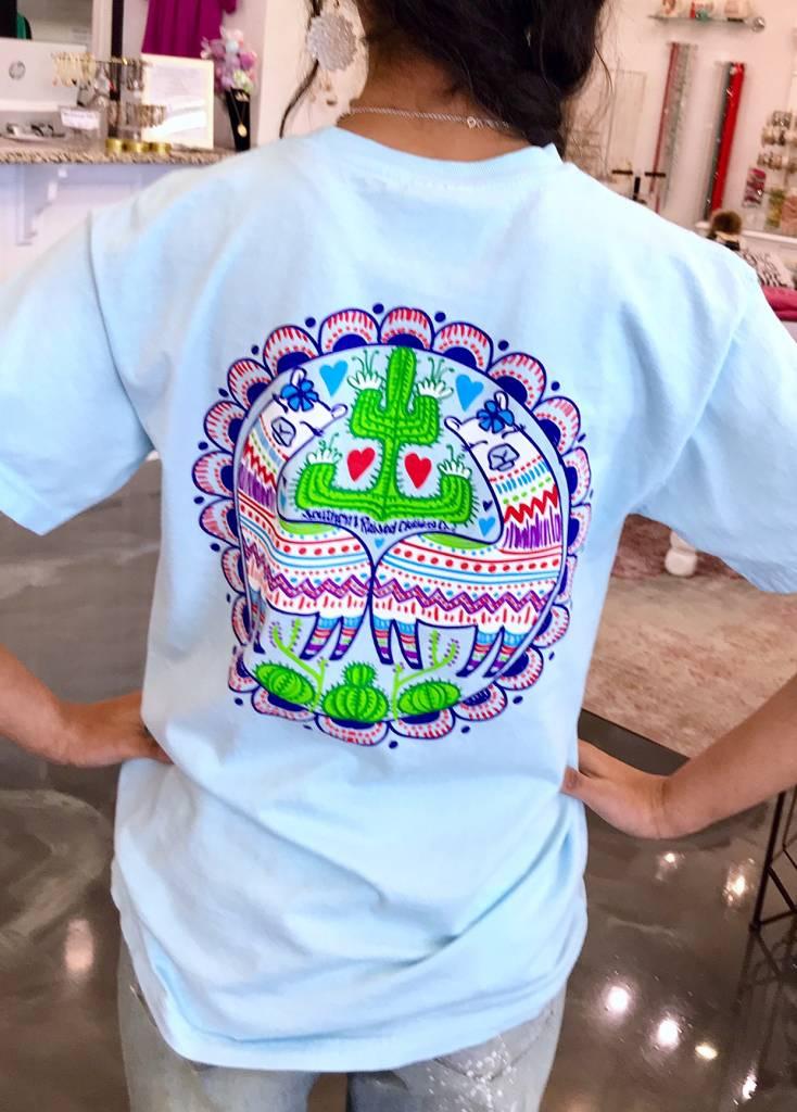 Sky Blue Colorful Cactus T-Shirt