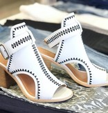 Ella White/Black Mix Buckle Heel