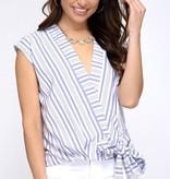Blue Striped Woven Side Tie Top