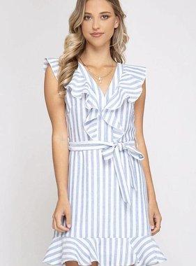 848cafc85ef5 Blue Striped Ruffled Woven Dress