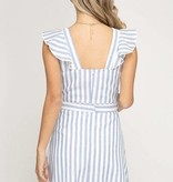 Blue Striped Ruffled Woven Dress