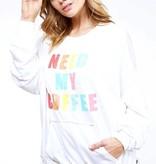 "Off White ""Need My Coffee"" LS Sweatshirt- SALE ITEM"