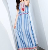 Blue and White Striped Embroidered Maxi Dress