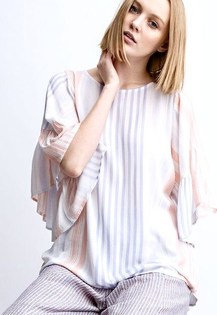Apricot and Baby Blue Striped SS Ruffle Sleeve Top