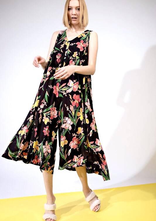 Black Floral Sleeveless Flowy Jumpsuit