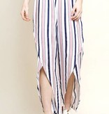 Blush and Navy Striped Tulip Pants