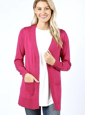 Sabrina Solid Pocket Cardigan Magenta
