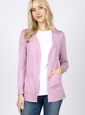 Sabrina Solid Pocket Cardigan Dark Lilac