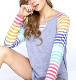 Raglan Top with Multi Color Stripe Sleeve Denim