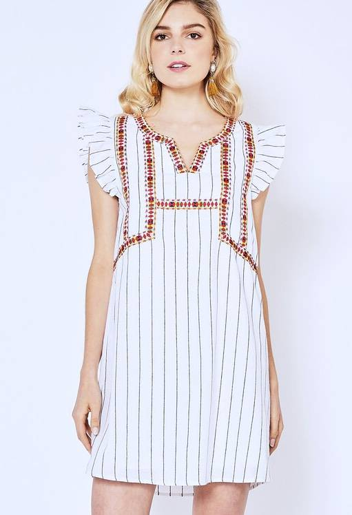 Off White Striped Embroidered Dress