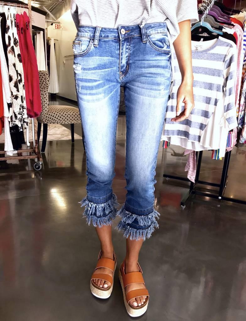 Kan Can Medium Washed Layered Frayed Hem Jean