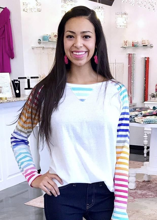 Raglan Top with Multi Color Stripe Sleeve Ivory