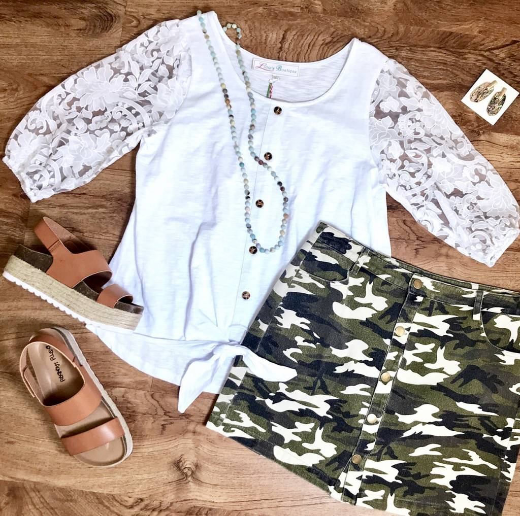 White Heathered Top with Sheer Floral Lace Sleeves