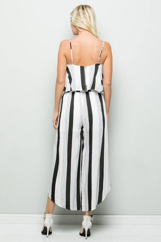 Black Striped Two Piece Set