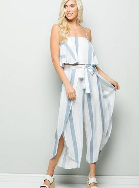 Light Blue Striped Two Piece Set
