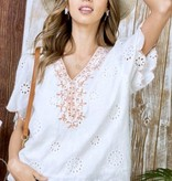 Off White Scalloped Embroidered Top