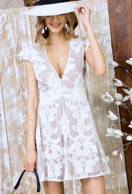 White Lace/Mesh Dress with Cap Sleeve