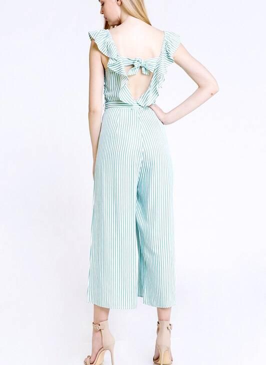 Mint Striped Ruffle Jumpsuit