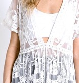 White Lace Tie Front Kimono Cover Up