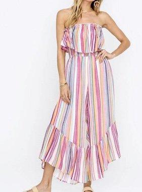 Pink Multi Striped Ruffle Jumpsuit