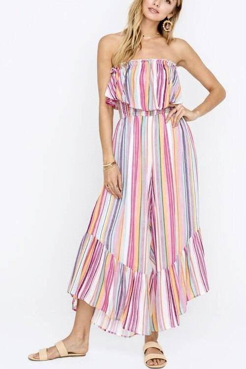 Pink Multi Striped Ruffle Jumpsuit