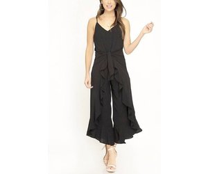 7e7b15627e93 Black Cami Jumpsuit With Front Tie - LilliesBoutique
