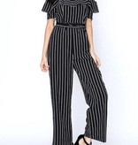 Black and White Striped Open Shoulder Jumpsuit