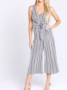 81083ee820c3 Black and White Multi Striped Tie Front Jumpsuit