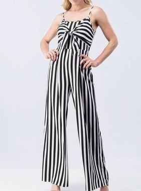 4eb3e3513e57 Black And White Striped Tie Front Jumpsuit