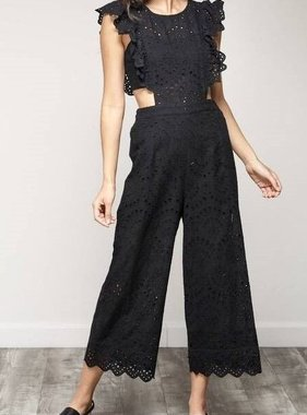 9d6e526e1655 Black Crochet Ruffled Sleeveless Jumpsuit