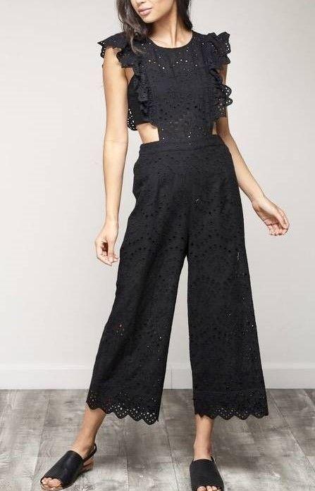 Black Crochet Ruffled Sleeveless Jumpsuit
