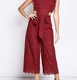 Burgundy Crochet Ruffled Sleeveless Jumpsuit