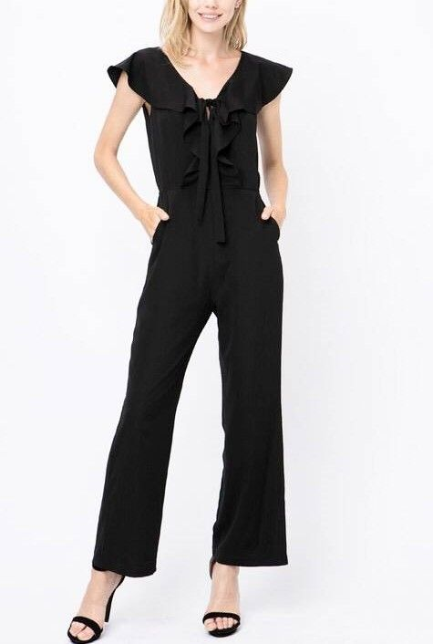 Black Ruffle SS Front Tie Jumpsuit