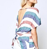 Marsala Teal Striped Top with Twist Back