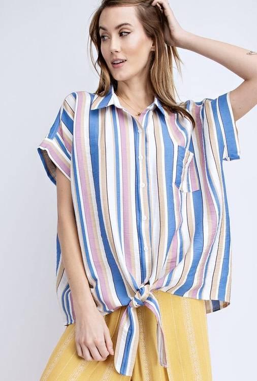 Striped Linen Short Sleeve Tie Top Faded Blue