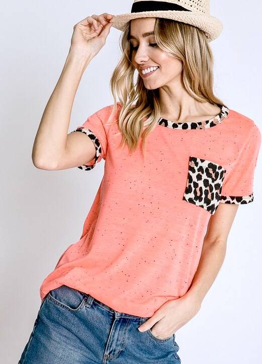 Confetti Top with Leopard Detail Neon Coral