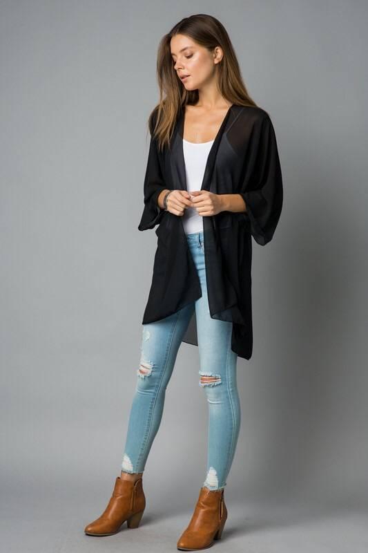 Lightweight Sheer Solid Kimono Black
