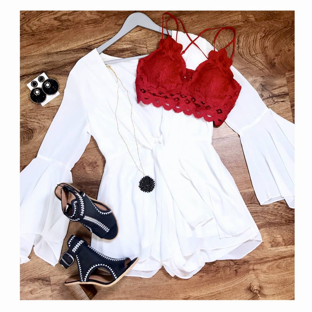 White Deep V Romper with Bell Sleeve