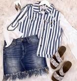 Off White and Denim Striped Vest