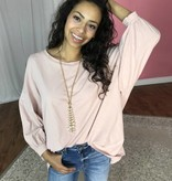Blush 3/4 Sleeve Top with Balloon Sleeve- SALE ITEM