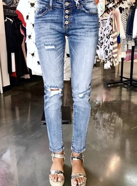 Kan Can Medium Wash Multi Button Detail Slightly Distressed Jean