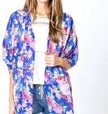 Blue and Pink Floral Kimono