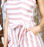 Mauve Striped Cropped Jumpsuit with Open Back
