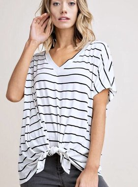 Striped V-Neck Knotted Top White