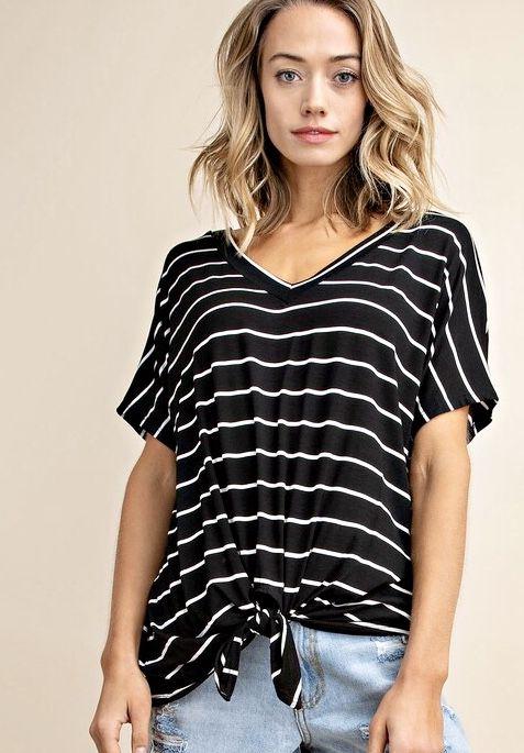 Striped V-Neck Knotted Top Black
