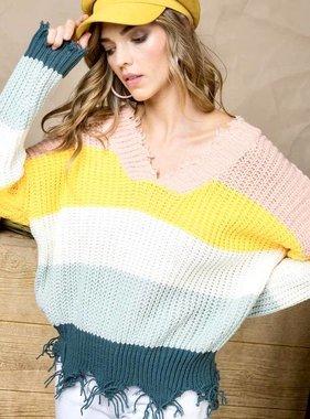 Teal Multi Blocked Cropped Sweater- SALE ITEM