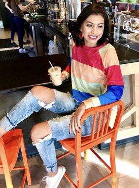 Neon Striped LS Sweatshirt- SALE ITEM