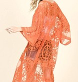 Orange Floral Lace Kimono