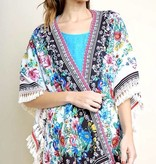 White and Black Floral Kimono with Tassel Detail